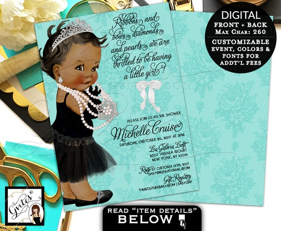 Baby and Co Ribbons Bows Diamonds and Pearls Baby Shower Printable Invitation