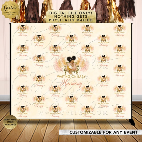 Step & Repeat Backdrop Baby Shower Personalized | Peach Ivory Gold Afro Puffs Vintage | RAPCH-119
