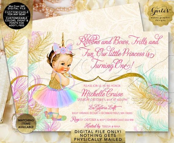 "Unicorn Birthday Invitation | Pastel Rainbow Colors |  7x5"" Double Sided | Printable Digital File Only | JPG + PDF Format."