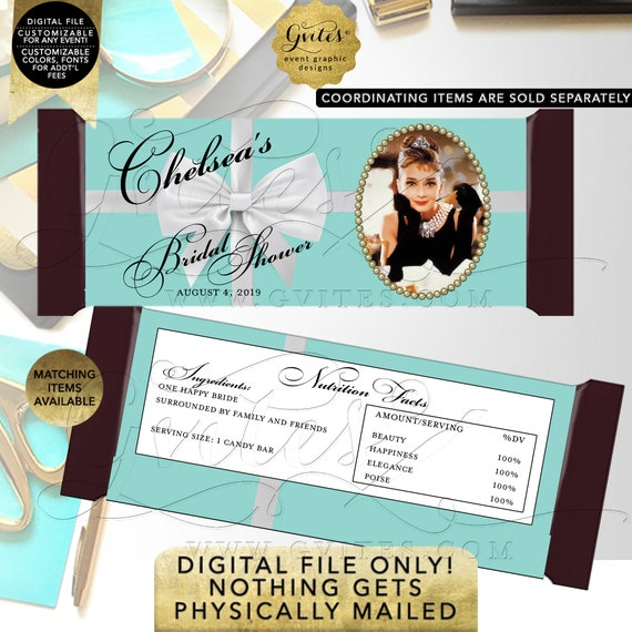 "Chocolate Candy Bar Wrapper Personalized. Audrey Hepburn Party Bridal Shower| Printable Digital PDF + JPG Format {2 Per/Sheet 5.25 x 5.75""}"