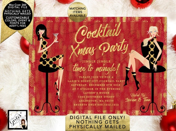 Cocktail Christmas Party Printable Invitation/Red & Gold/Modern Invites. 7x5""