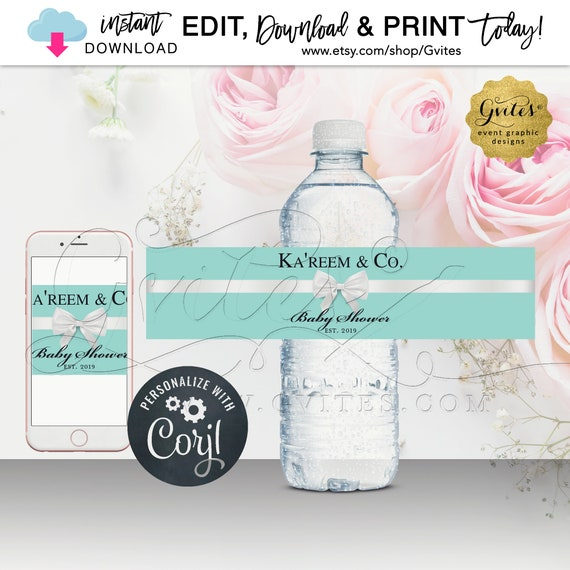 Baby Shower Water Bottle Labels | Breakfast at Name & Co Theme | Instant Download | Edit w/Corjl