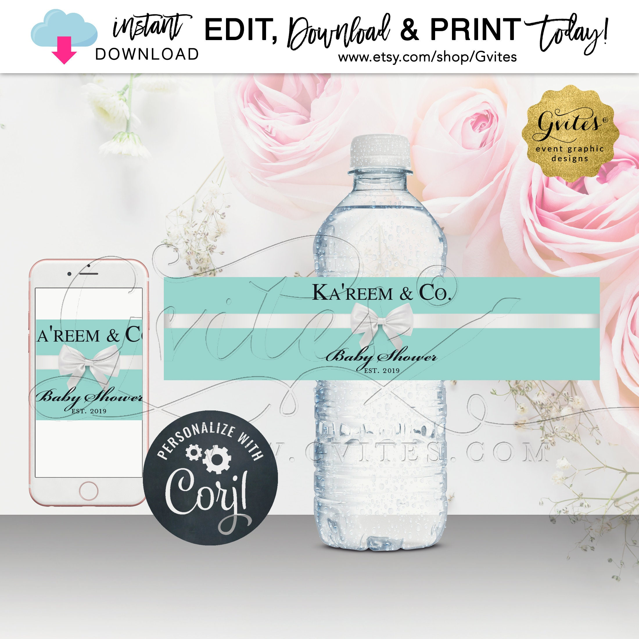 Baby Shower Water Bottle Labels Breakfast At Name Co Theme Instant Download Edit W Corjl