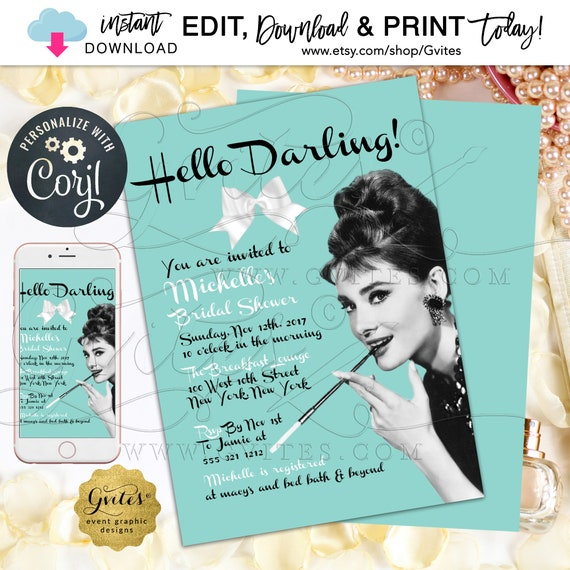 "Breakfast at Bridal Shower Invitation Audrey Hepburn. Blue/Robbin Egg Blue/ | 5x7"" Double Sided {Edit with Corjl} Instant Download."