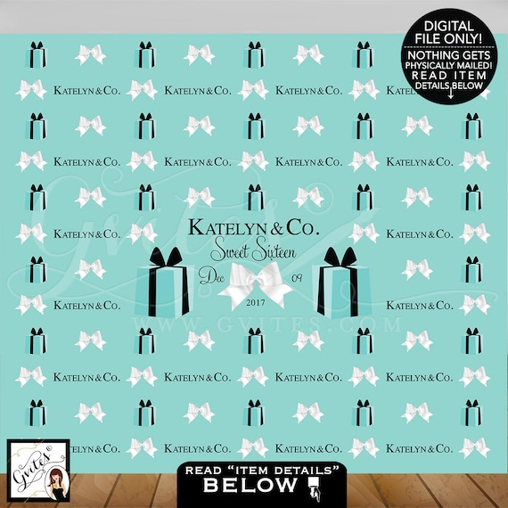 Sweet 16 Step and Repeat Backdrops/ breakfast at birthday turquoise blue white bow/ name and co/ custom backdrops/ Shown in Size: 10ft x 8ft