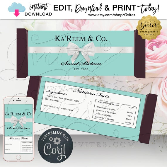 Personalized Sweet 16 Chocolate Candy Bar Labels. Turquoise/Blue White Bow. Editable Template Any Birthday. Edit TODAY w/Corjl.