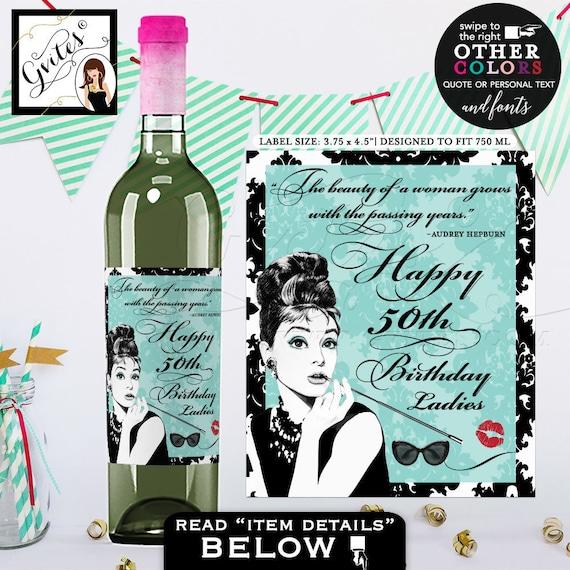 Audrey Hepburn Party Favors | Happy Birthday Wine Labels | Digital File JPG + PDF | by Gvites