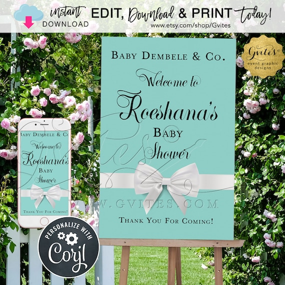 "Baby Name & Co Welcome Sign For Easel. Entrance Decorations Party. Turquoise Blue Edit W/Corjl Today!  {Can Print Size(s) 12x18"" and 24x36""}"
