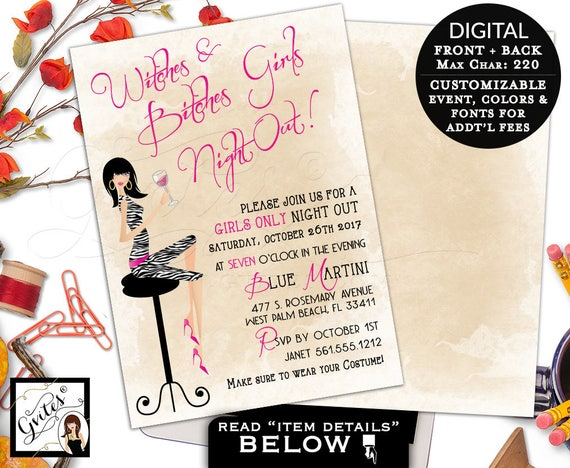 Halloween Girls Night Out Party Printable Invitation