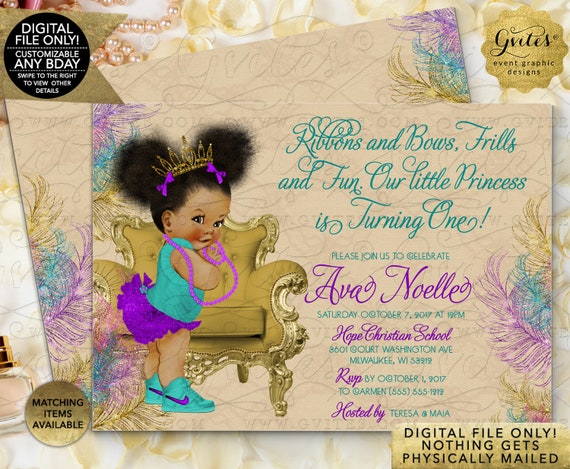 "First Birthday, African American Cutie, Afro puffy, Purple and Teal, Invitations, adorable and cute invites, double sided cards, 7x5"" Gvites"