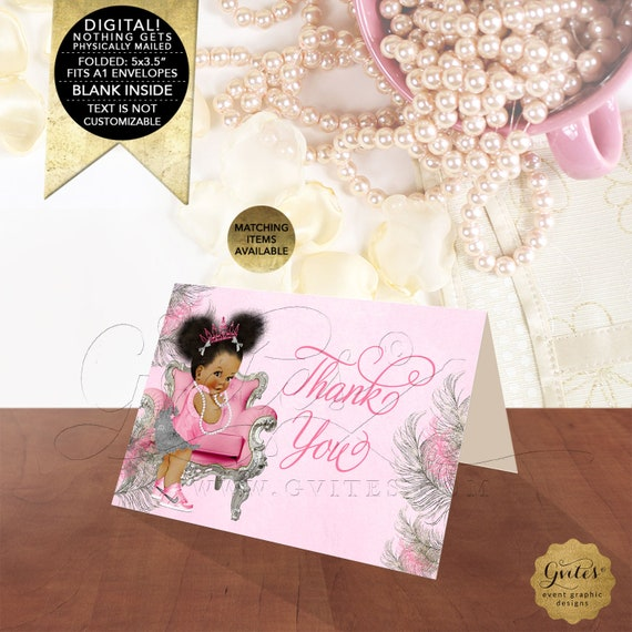 "Pink Silver Thank You Baby Shower Cards | Instant Download Dark/ Puffs  5x3.5"" 2 Per/ Sheet."