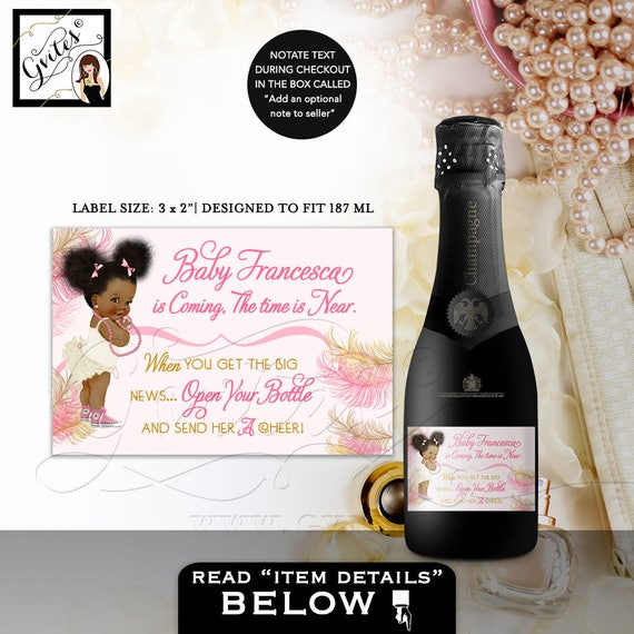 Pink and Gold MINI Champagne Labels Baby Shower/ the time is near/ favors afro puffs african american baby girl DIGITAL 3x2 9 Per Sheet