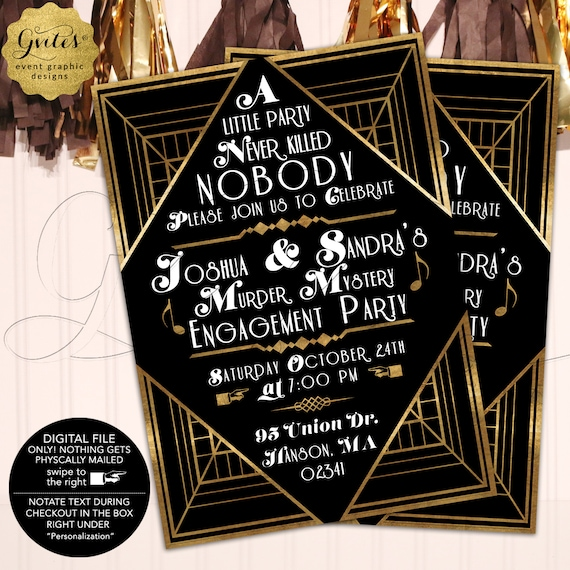 Murder Mystery Engagement Party Invitation | Gatsby Vintage 1920s Themed | Printable File Only! Nothing Gets Physically Mailed!