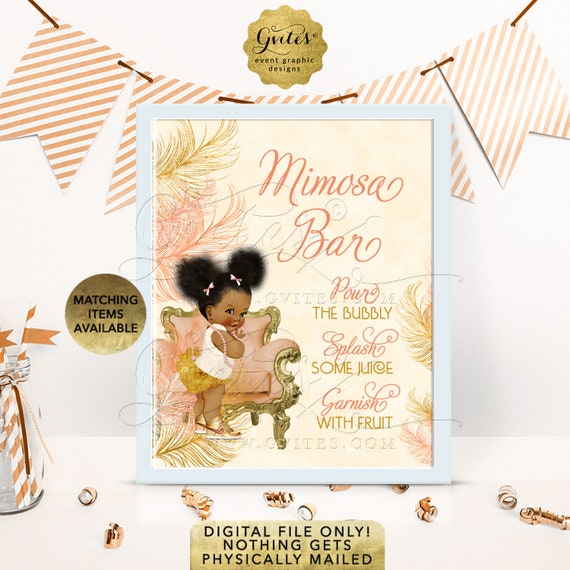 Mimosa Bar Sign Baby Shower | Peach Ivory Gold Afro Puffs Vintage | RAPCH-119