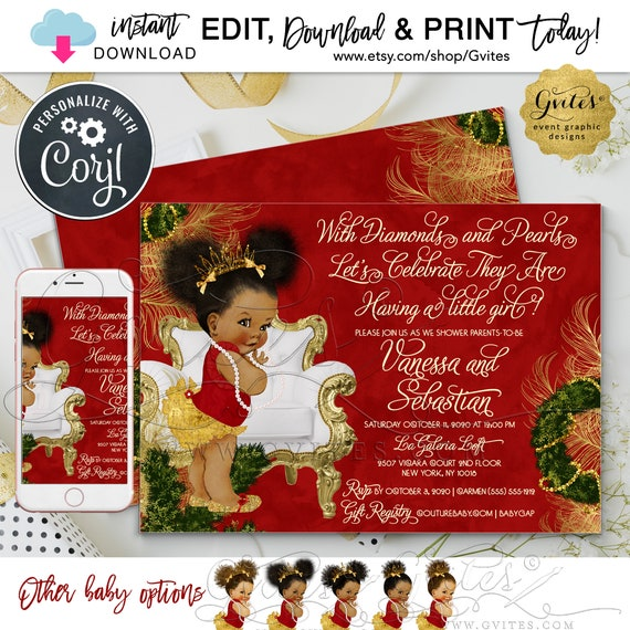 "Afro Puff Baby Shower Red/Gold Invitation. Editable Template\Instant Download\Vintage Girl. 7x5"" Double Sided. {Edit with Corjl Today!}"