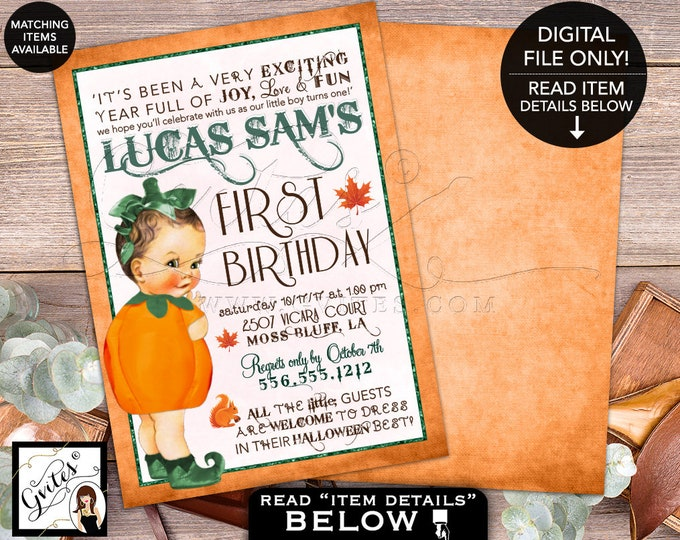 Green Pumpkin First Birthday Invitation, Our little boy is turning one, Birthday Vintage Invitations, fall autumn invites Digital, 5x7