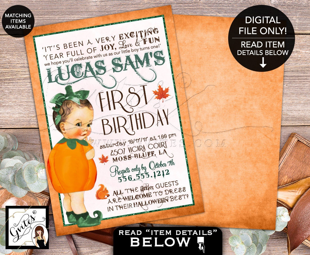 Green Pumpkin First Birthday Invitation Our Little Boy Is Turning One