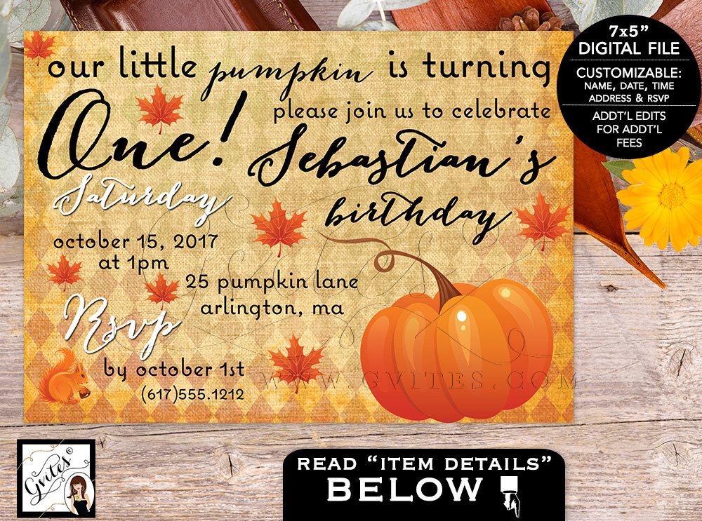 Our Little Pumpkin Is Turning One Birthday Invitation First Bday Boy Invites Digital File Fall Invitations