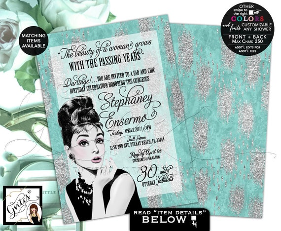 30 and Utterly Fabulous Breakfast birthday invitation/ Audrey Hepburn Invite/ Turquoise Blue & Silver Elegant Invite/ Vintage Party