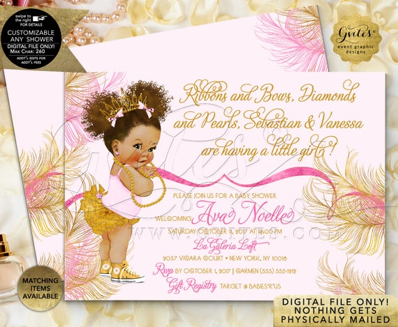 Rose Pink and Gold Baby Shower Printable Invitation African American | Coordinating Items Sold Separately!