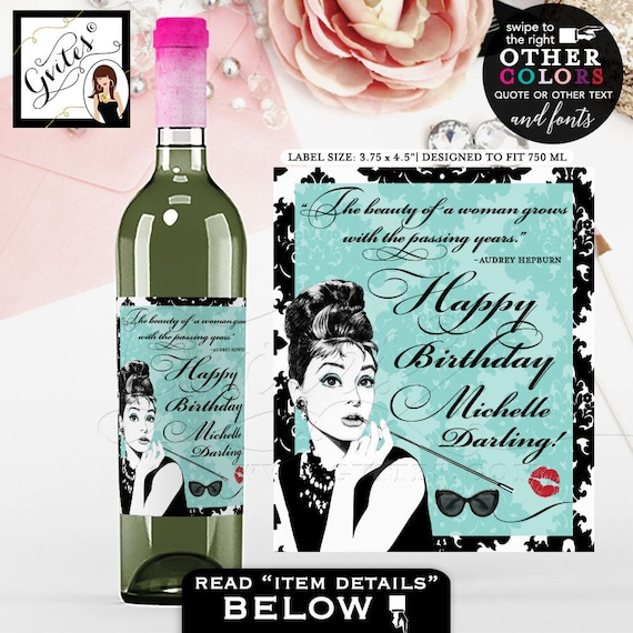 "Breakfast Themed Happy Birthday Darling Wine Label - Audrey Hepburn PERSONALIZED wine labels. PRINTABLE {3.75x4.5""/ 4 Per Sheet}"