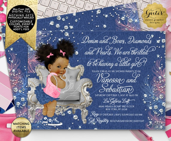 "Afro Puffs Denim Diamonds Bows Baby Shower Invitations/ Vintage Baby Girl Silver Blue Pink/ Digital File! 7x5"" Double Sided. DIY/ Printable."