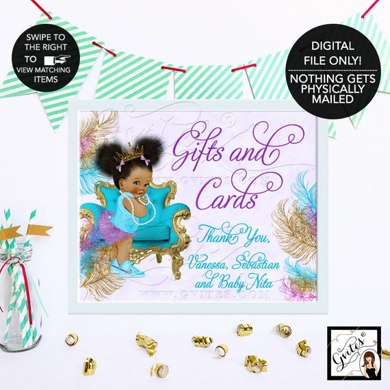 Baby Shower Gifts and Cards Sign / Turquoise Lavender Purple & Gold Printable Party Table Decorations / Ethnic Baby Invitations Afro Puffs