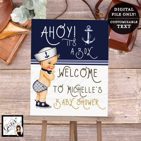 "Nautical Baby Shower Welcome Sign, Decoration, Poster, Banner, Decor, Little sailor printable, navy blue and white, 5x7"" Digital File Only!"
