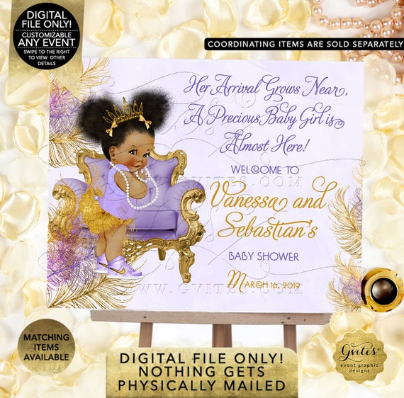 Purple Gold Baby Shower Welcome Sign/ Lavender gold princess ethnic/ Printable African American Afro Puffs. Gvites | Design: TIACH-103