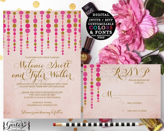 Rose gold wedding invitation, blush pink hot pink, fuchsia gold modern style, customizable. {5x7 5x3.5}