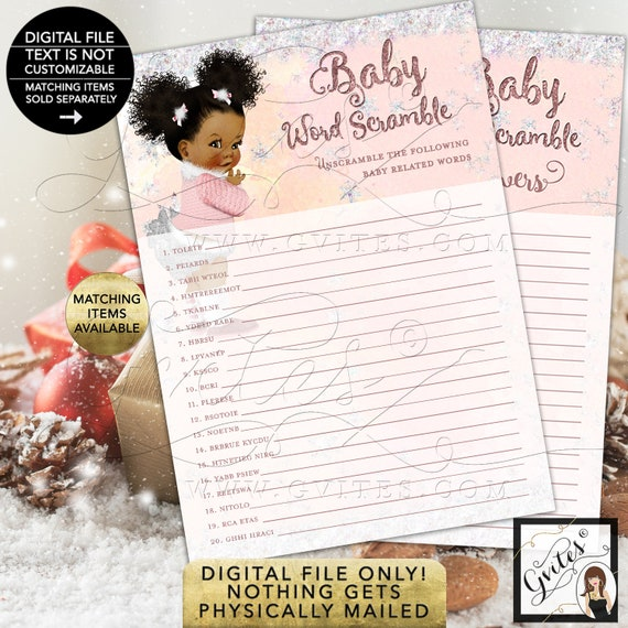 """Baby Word Scramble Game Baby Winter Wonderland Pink Silver/ it's Cold Outside/ African American 5x7"""" 2 Per Sheet {INSTANT DOWNLOAD}"""