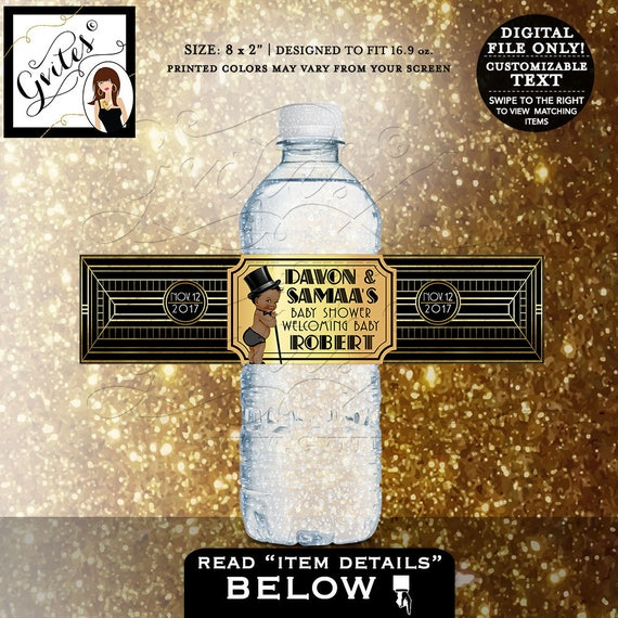 "Gatsby themed baby shower water bottle labels/ 1920's black and gold/ sticker/ decorations/ BOY. DIGITAL FILE 8x2""/ 5 Per Sheet."