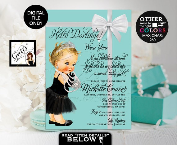 """Baby & Co Baby Shower Invitations/ Turquoise/Blue/ Aqua and White Bow   Breakfast themed/ Audrey Hepburn Princess   Printable/ DIY 5x7"""""""