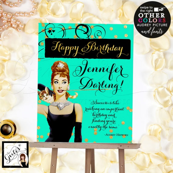 Breakfast at Audrey's Happy Birthday Sign Poster, Audrey Hepburn sign, mint green and gold, pink and gold, Digital File Only! Read Below!!