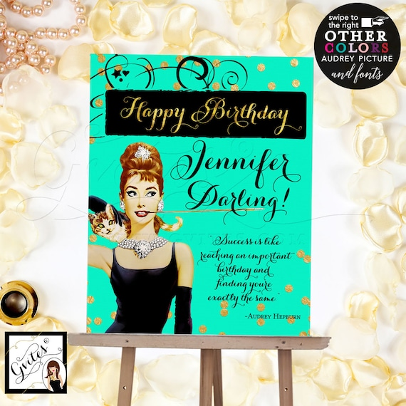 Breakfast at Audrey's Happy Birthday Sign Poster/ Audrey Hepburn sign/ mint green and gold/ pink and gold/ Digital File Only! Read Below!!