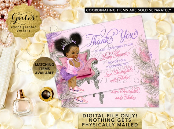 Thank You Cards Baby Shower / Pink Purple Silver Afro Puffs Vintage African American Princess