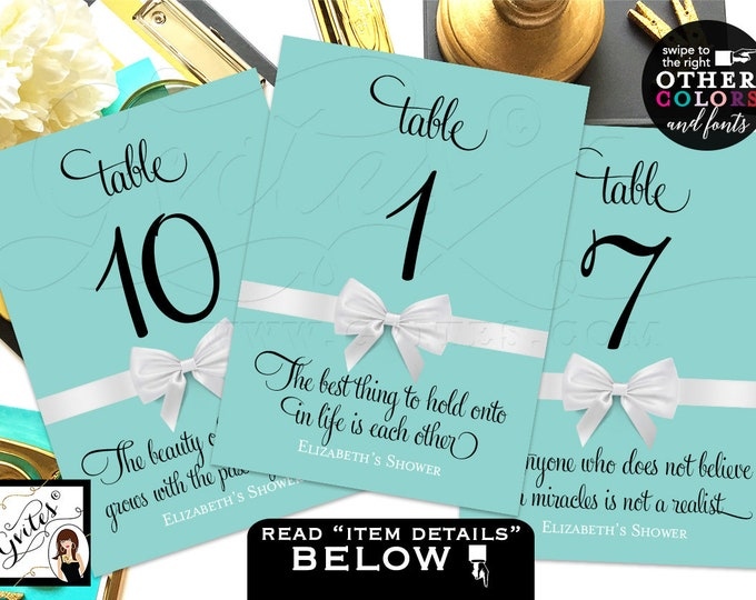 Personalized Table Numbers, Party Theme, decor Audrey Hepburn quotes or personal text, wedding, bridal shower, birthday, 4x6 or 5x7