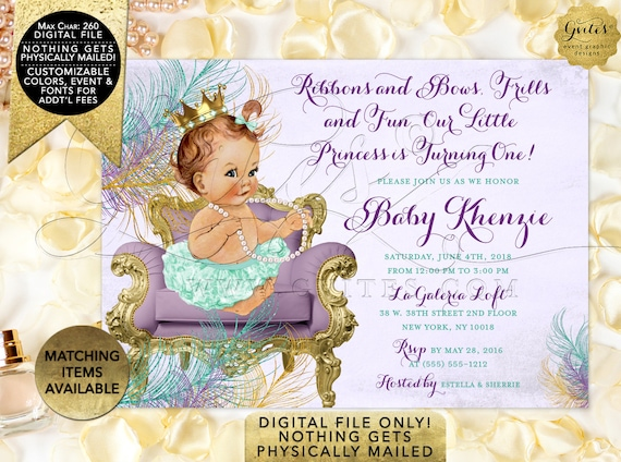 "Mint and Lavender 1st Birthday Invitation Digital File Only! JPG + PDF 7x5"""