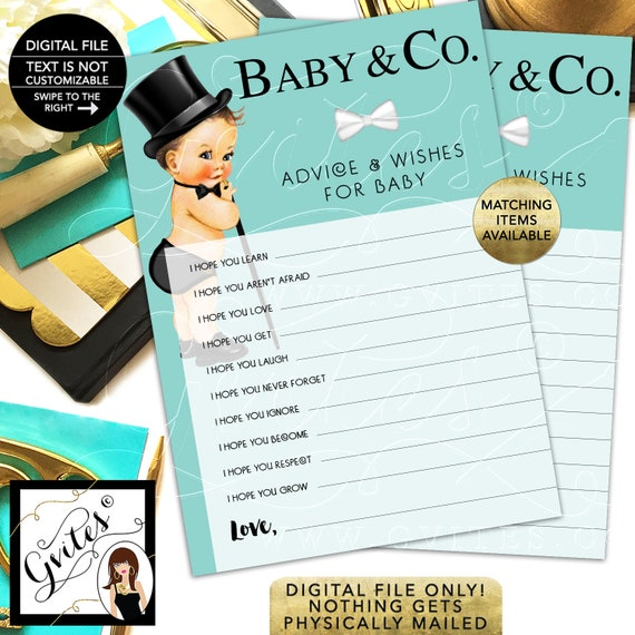 Baby and Co Advice Card/ Baby Wishes/ African American Vintage Boy with Top Hat and Cane. INSTANT DOWNLOAD/ 5x7 2 Per Sheet {Light Brunette}