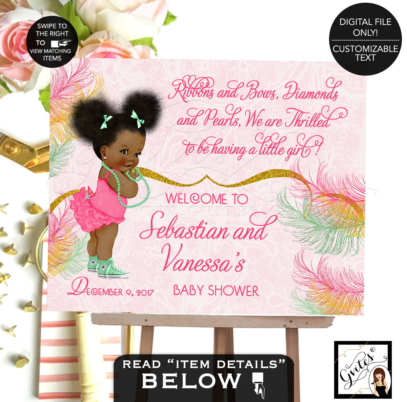 Welcome Baby Shower Sign, Pink And Mint Baby Banner, African American Baby  Girl Baby Shower Sign, Poster Gold And Pink, Afro Puffs