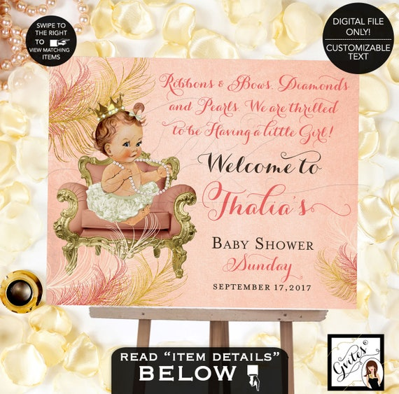 Welcome Sign Baby Shower Coral and Gold, ivory princess poster entrance decorations, printable, digital, diy, Gvites.
