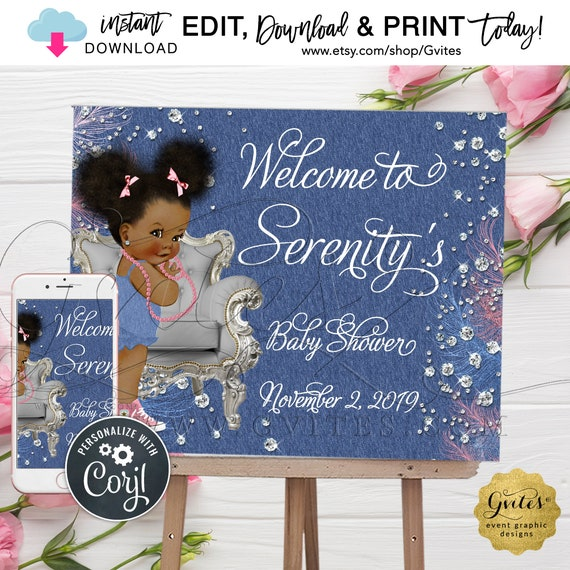 """Welcome Baby Shower Sign Denim & Diamonds. Blue Jean/Pink and Silver. Instant Download. Edit with Corjl Today! {Can Print: 10x8"""" and 20x16""""}"""