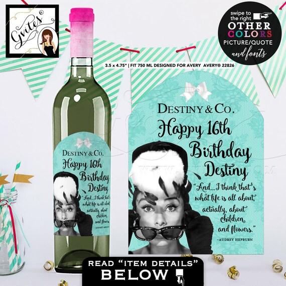 Wine Label Birthday Sweet 16 Wine Labels Audrey Hepburn Happy Birthday LABEL bottle label, sticker. {Designed For Avery® 22826} PRINTABLE