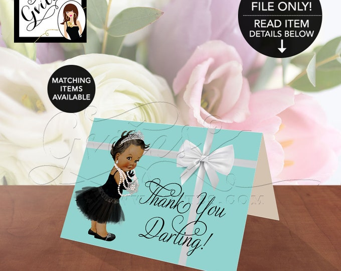 "Thank you darling! African American Baby thank you, blue themed shower, breakfast at co.5x3.5"" 2 Per/Sheet {Non-Customizable}"