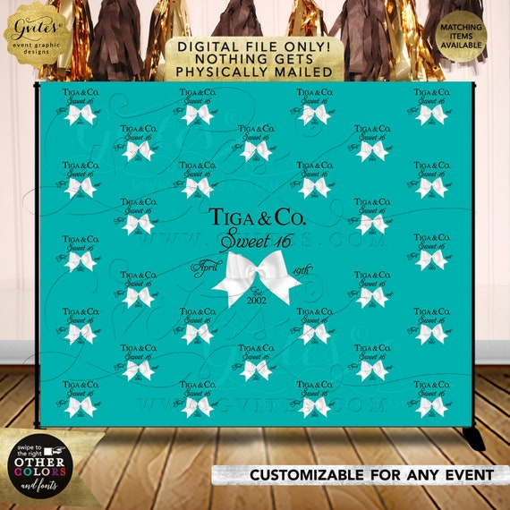 Sweet 16 Step and Repeat Backdrops | Breakfast at bridal shower | Turquoise blue white bow | Birthday and co backdrops Size: 10ft x 8ft