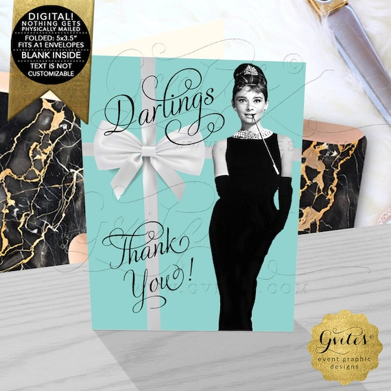 Breakfast Bridal Shower Thank You Cards/ Vintage Bridal Baby Shower Birthday Audrey Hepburn Party/ INSTANT DOWNLOAD