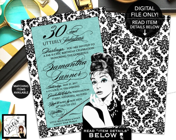 "Breakfast at Birthday Invitations, Audrey Hepburn 30th party invites, printable, digital file, African American Audrey. 5x7"" Double Sided"