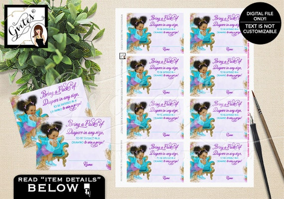 Diaper Raffle Tickets Baby Shower/ Purple Gold Crown Teal diaper High Tops Dark Puffs/ Little Princess Baby/ INSTANT {TIACH-105}