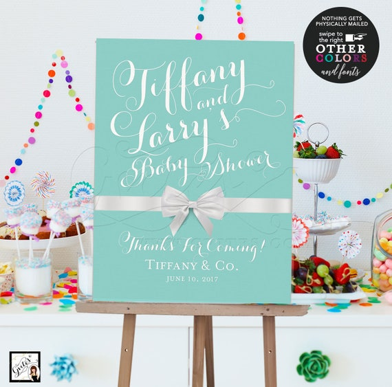 Custom Welcome Signs Baby Shower Breakfast at and Co Printable Blue Poster