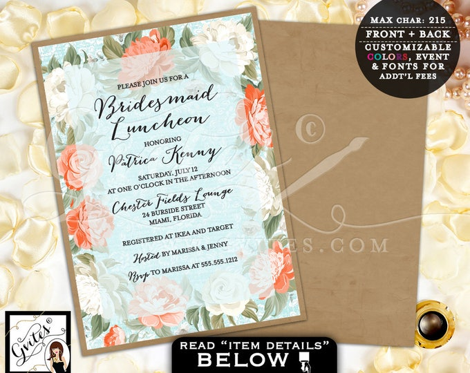Peony Bridal Shower Invitation, Peonies bridal luncheon, vintage, shabby chic, floral invites, printable, digital, 5x7 double sided, Gvites
